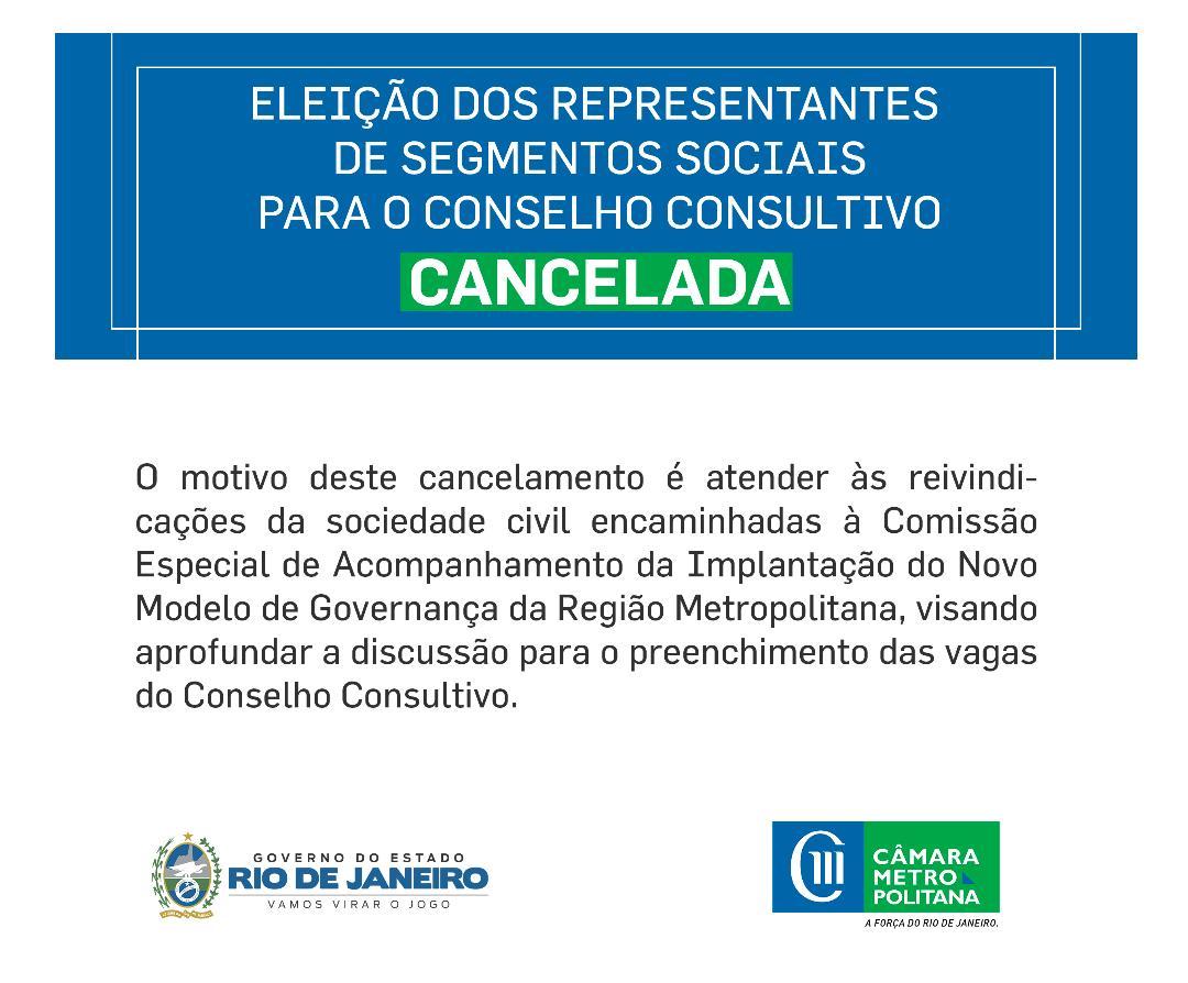 Câmara Metropolitana atendeu pedido inicial de cancelamento da eleição dos representantes de segmentos sociais para o Conselho Consultivo, prevista para segunda (8/04)